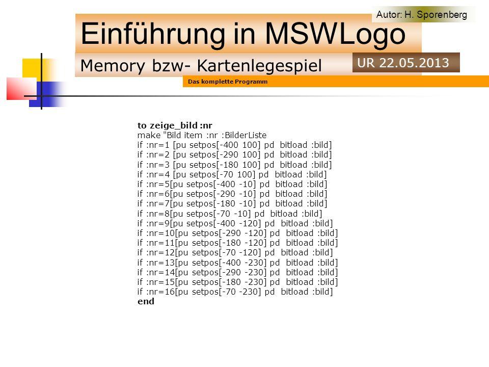 Memory bzw- Kartenlegespiel Einführung in MSWLogo Autor: H.