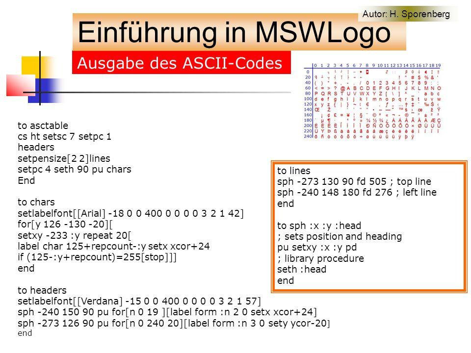 Ausgabe des ASCII-Codes Einführung in MSWLogo Autor: H.