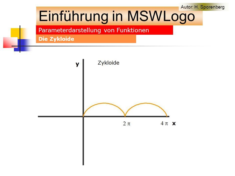 Parameterdarstellung von Funktionen Einführung in MSWLogo Autor: H. Sporenberg Die Zykloide