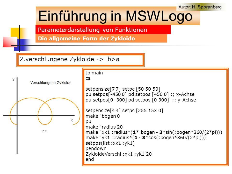 Parameterdarstellung von Funktionen Einführung in MSWLogo Autor: H.