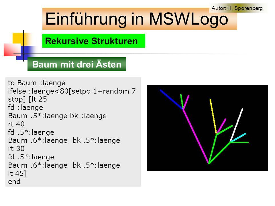 Rekursive Strukturen Baum mit drei Ästen to Baum :laenge ifelse :laenge<80[setpc 1+random 7 stop] [lt 25 fd :laenge Baum.5*:laenge bk :laenge rt 40 fd.5*:laenge Baum.6*:laenge bk.5*:laenge rt 30 fd.5*:laenge Baum.6*:laenge bk.5*:laenge lt 45] end Einführung in MSWLogo Autor: H.