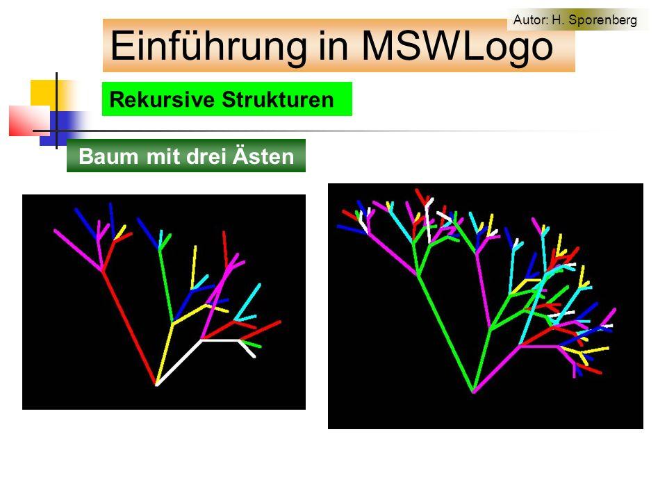 Rekursive Strukturen Einführung in MSWLogo Baum mit drei Ästen Autor: H. Sporenberg