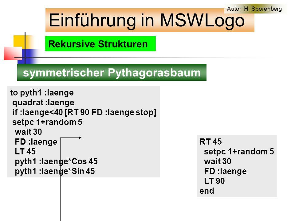 Rekursive Strukturen symmetrischer Pythagorasbaum to pyth1 :laenge quadrat :laenge if :laenge<40 [RT 90 FD :laenge stop] setpc 1+random 5 wait 30 FD :laenge LT 45 pyth1 :laenge*Cos 45 pyth1 :laenge*Sin 45 RT 45 setpc 1+random 5 wait 30 FD :laenge LT 90 end Einführung in MSWLogo Autor: H.
