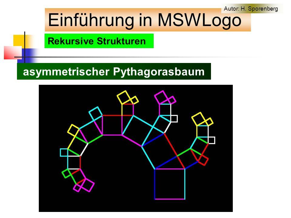 Rekursive Strukturen asymmetrischer Pythagorasbaum Einführung in MSWLogo Autor: H. Sporenberg