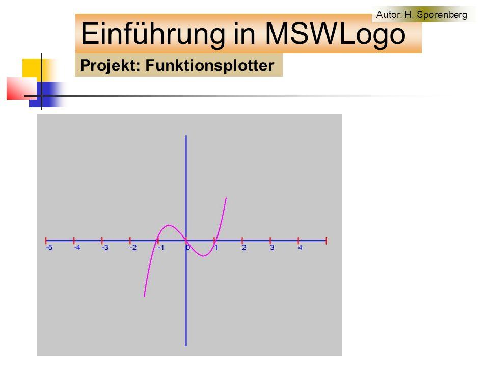 Projekt: Funktionsplotter Einführung in MSWLogo Autor: H. Sporenberg