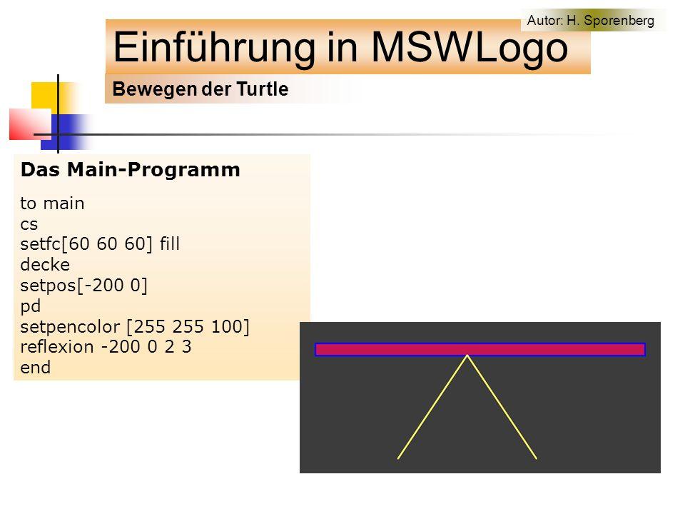 Das Main-Programm to main cs setfc[60 60 60] fill decke setpos[-200 0] pd setpencolor [255 255 100] reflexion -200 0 2 3 end Bewegen der Turtle Einführung in MSWLogo Autor: H.