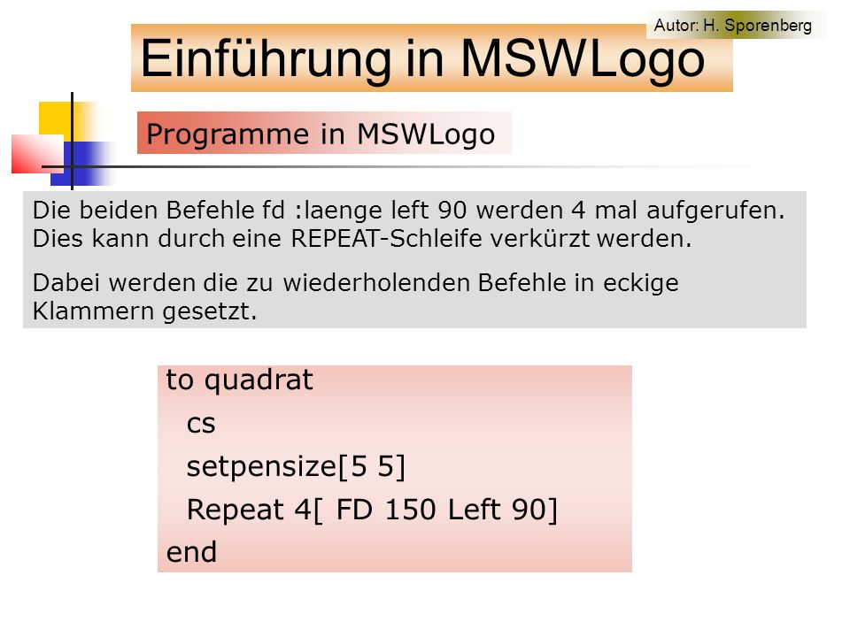Projekt: Aufnahme von Getreidekörner Einführung in MSWLogo to fahren :speed setfocus [MSWLogo Screen] keyboardon [make keypress keyboardvalue steuerung :keypress keyboardoff] if :keypress=113 [finish stop] wait 2 pd fd :speed kornweg fahren :speed end to finish throw toplevel end Autor: H.
