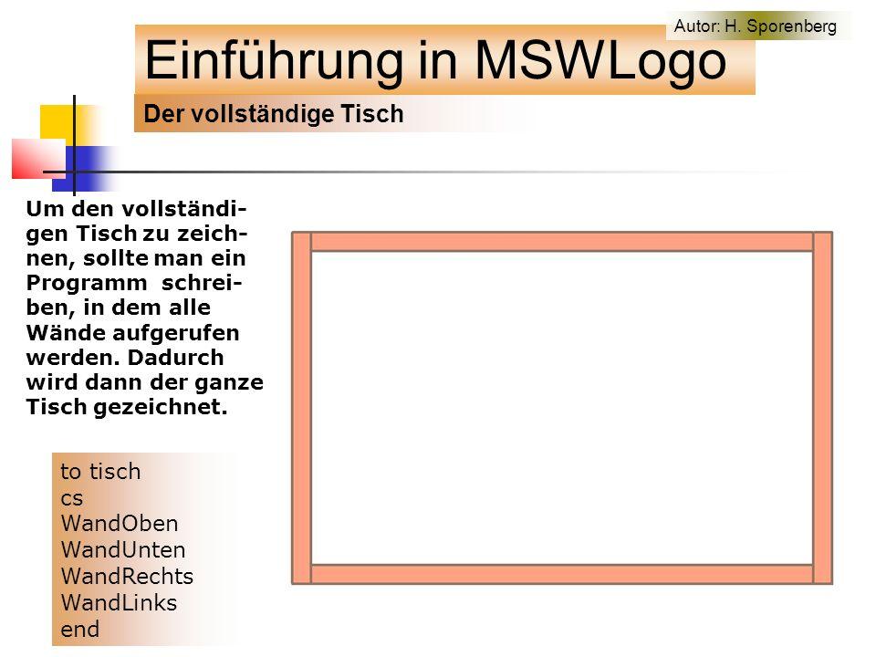 Der vollständige Tisch Einführung in MSWLogo Um den vollständi- gen Tisch zu zeich- nen, sollte man ein Programm schrei- ben, in dem alle Wände aufgerufen werden.