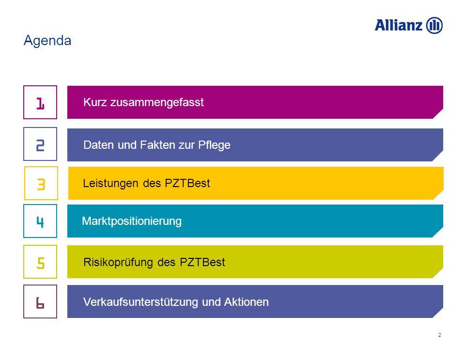 2 Agenda Daten und Fakten zur Pflege Kurz zusammengefasst Risikoprüfung des PZTBest 2 1 Marktpositionierung 4 5 Leistungen des PZTBest 3 Verkaufsunterstützung und Aktionen 6