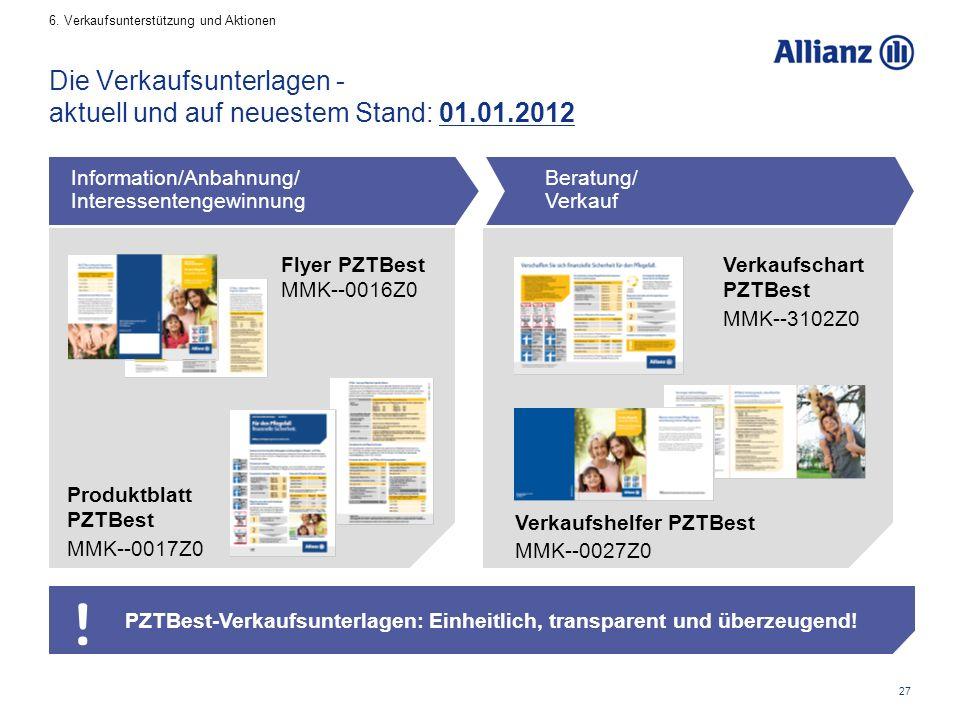27 Die Verkaufsunterlagen - aktuell und auf neuestem Stand: 01.01.2012 PZTBest-Verkaufsunterlagen: Einheitlich, transparent und überzeugend.