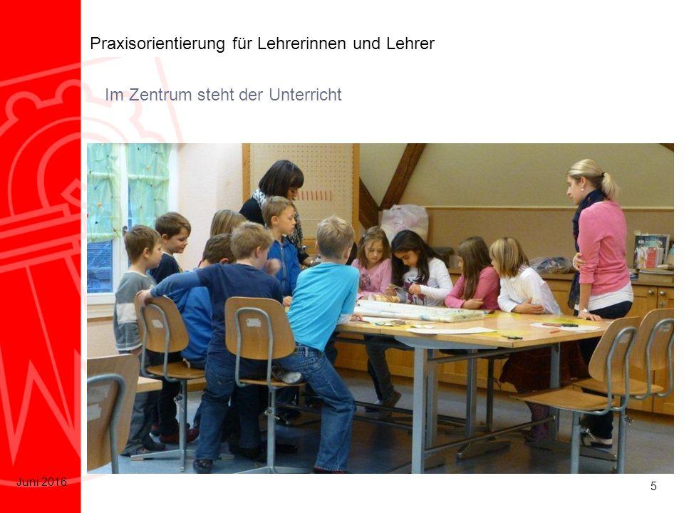 6 Juni 2016 Praxisorientierung für Lehrerinnen und Lehrer Schulprogramm und Schulkultur Individuelle Förderung Förderung in der Klasse Zusammenarbeit im Päd.