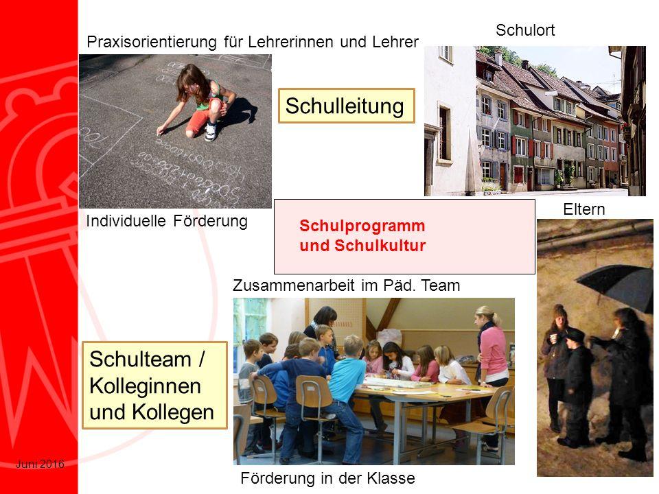 6 Juni 2016 Praxisorientierung für Lehrerinnen und Lehrer Schulprogramm und Schulkultur Individuelle Förderung Förderung in der Klasse Zusammenarbeit
