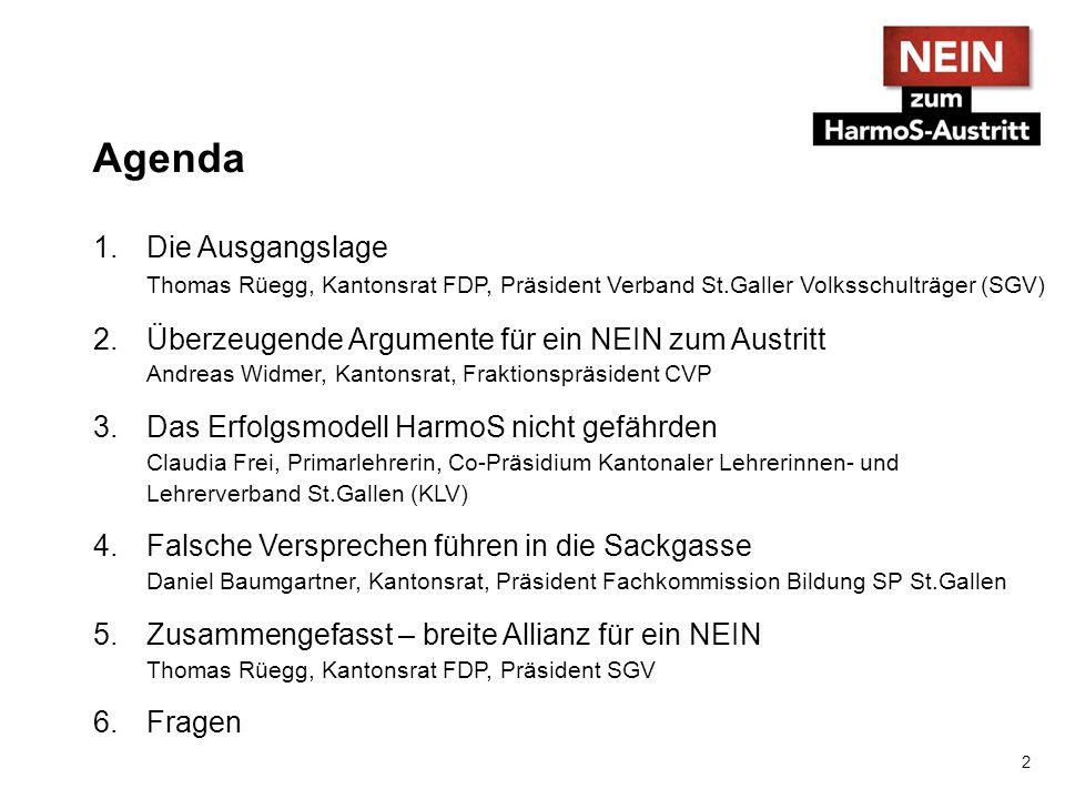 Agenda 1.Die Ausgangslage Thomas Rüegg, Kantonsrat FDP, Präsident Verband St.Galler Volksschulträger (SGV) 2.Überzeugende Argumente für ein NEIN zum A