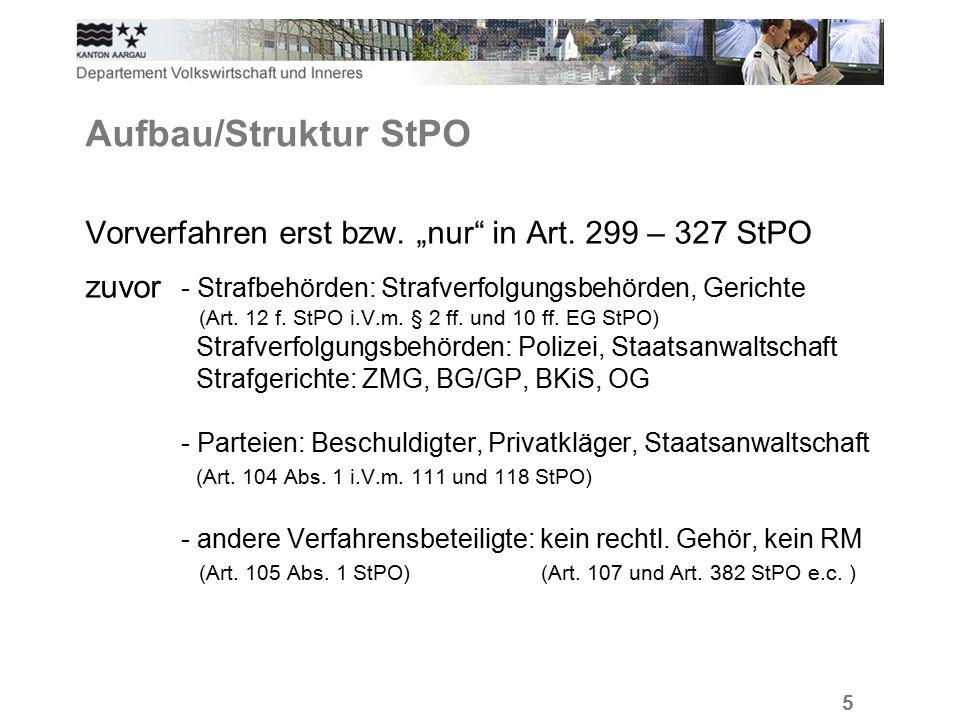 """5 Aufbau/Struktur StPO Vorverfahren erst bzw. """"nur in Art."""