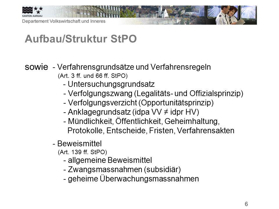 6 Aufbau/Struktur StPO sowie - Verfahrensgrundsätze und Verfahrensregeln (Art.