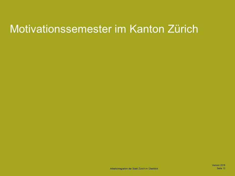 Arbeitsintegration der Stadt Zürich im Überblick Version 2016 Seite 13 Motivationssemester im Kanton Zürich