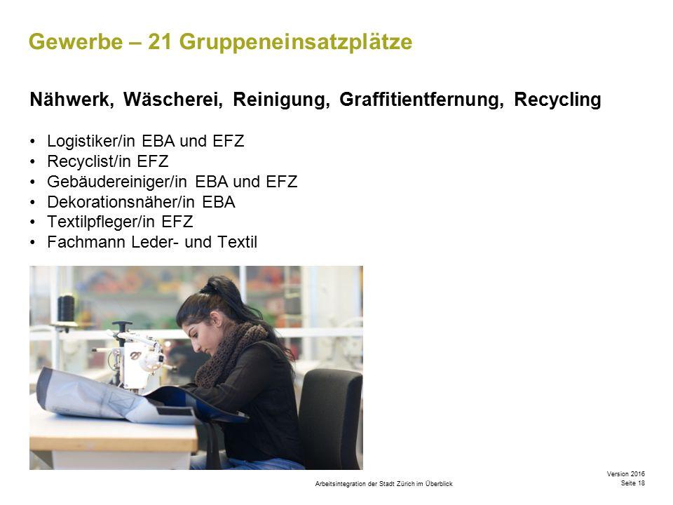 Arbeitsintegration der Stadt Zürich im Überblick Version 2016 Seite 18 Gewerbe – 21 Gruppeneinsatzplätze Nähwerk, Wäscherei, Reinigung, Graffitientfernung, Recycling Logistiker/in EBA und EFZ Recyclist/in EFZ Gebäudereiniger/in EBA und EFZ Dekorationsnäher/in EBA Textilpfleger/in EFZ Fachmann Leder- und Textil