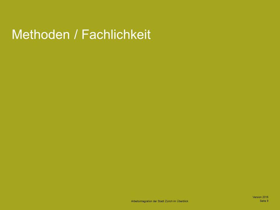 Arbeitsintegration der Stadt Zürich im Überblick Version 2016 Seite 10 Struktur Dokumentation