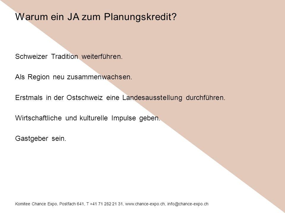 Komitee Chance Expo, Postfach 641, T +41 71 282 21 31, www.chance-expo.ch, info@chance-expo.ch Schweizer Tradition weiterführen.