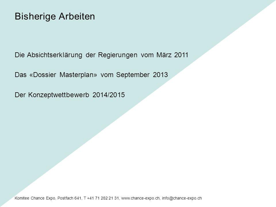 Komitee Chance Expo, Postfach 641, T +41 71 282 21 31, www.chance-expo.ch, info@chance-expo.ch Finanzielle Rahmenbedingungen klären.