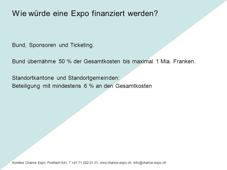 Komitee Chance Expo, Postfach 641, T +41 71 282 21 31, www.chance-expo.ch, info@chance-expo.ch Bund, Sponsoren und Ticketing.