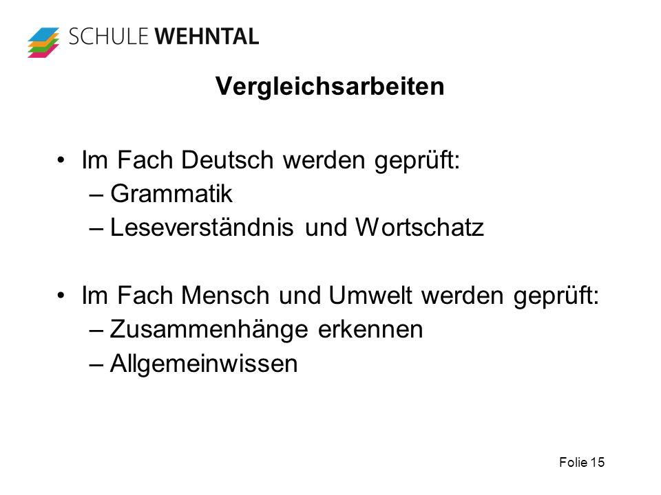 Folie 15 Vergleichsarbeiten Im Fach Deutsch werden geprüft: –Grammatik –Leseverständnis und Wortschatz Im Fach Mensch und Umwelt werden geprüft: –Zusa
