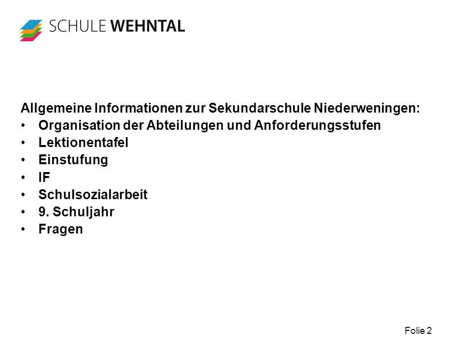 Folie 2 Allgemeine Informationen zur Sekundarschule Niederweningen: Organisation der Abteilungen und Anforderungsstufen Lektionentafel Einstufung IF S