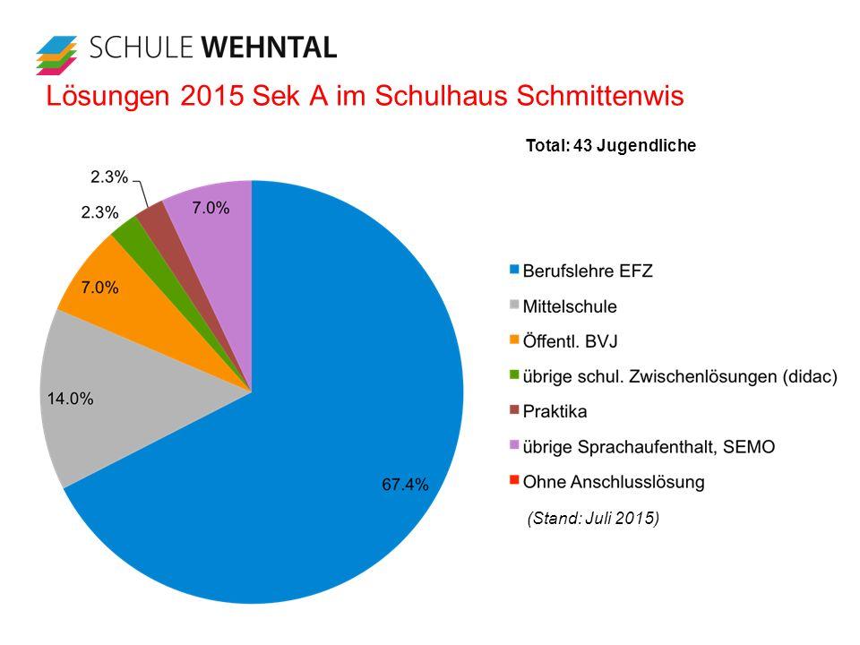 Lösungen 2015 Sek A im Schulhaus Schmittenwis (Stand: Juli 2015) Total: 43 Jugendliche