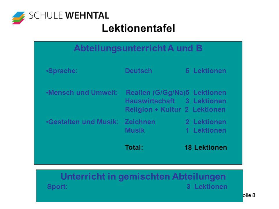 Folie 8 Lektionentafel Abteilungsunterricht A und B Unterricht in gemischten Abteilungen Sport:3 Lektionen Sprache: Deutsch5 Lektionen Mensch und Umwe