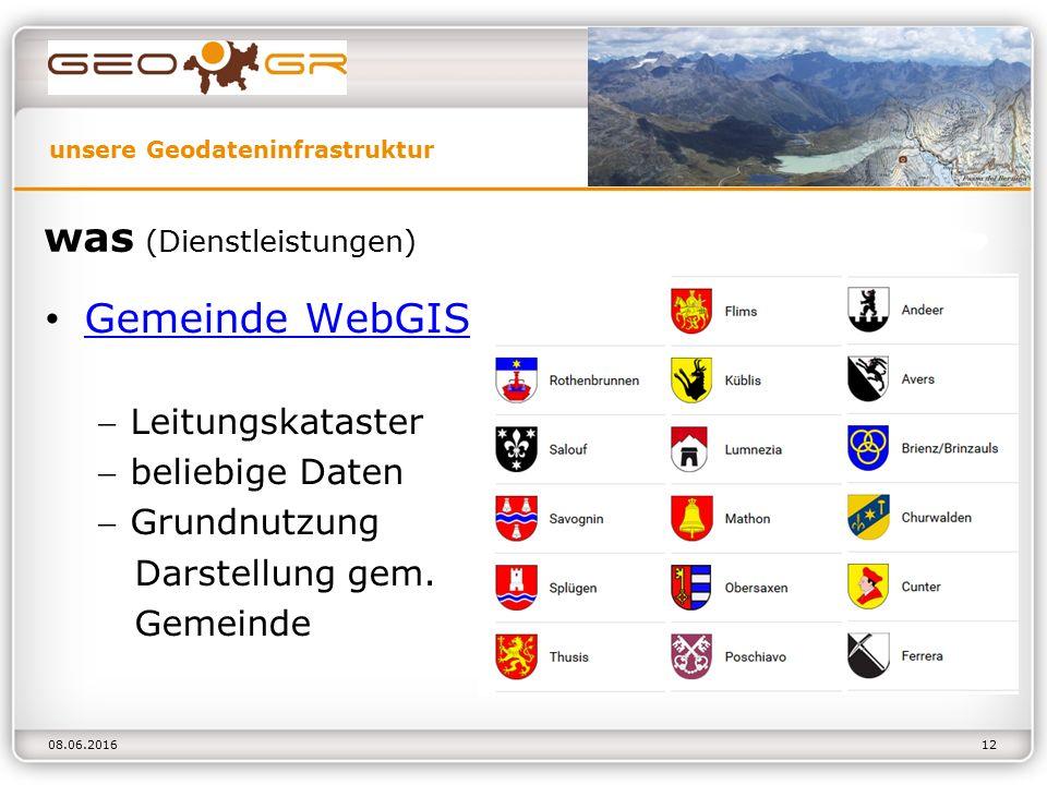 unsere Geodateninfrastruktur 08.06.2016 was (Dienstleistungen) Gemeinde WebGIS Gemeinde WebGIS Leitungskataster beliebige Daten Grundnutzung Darstellung gem.