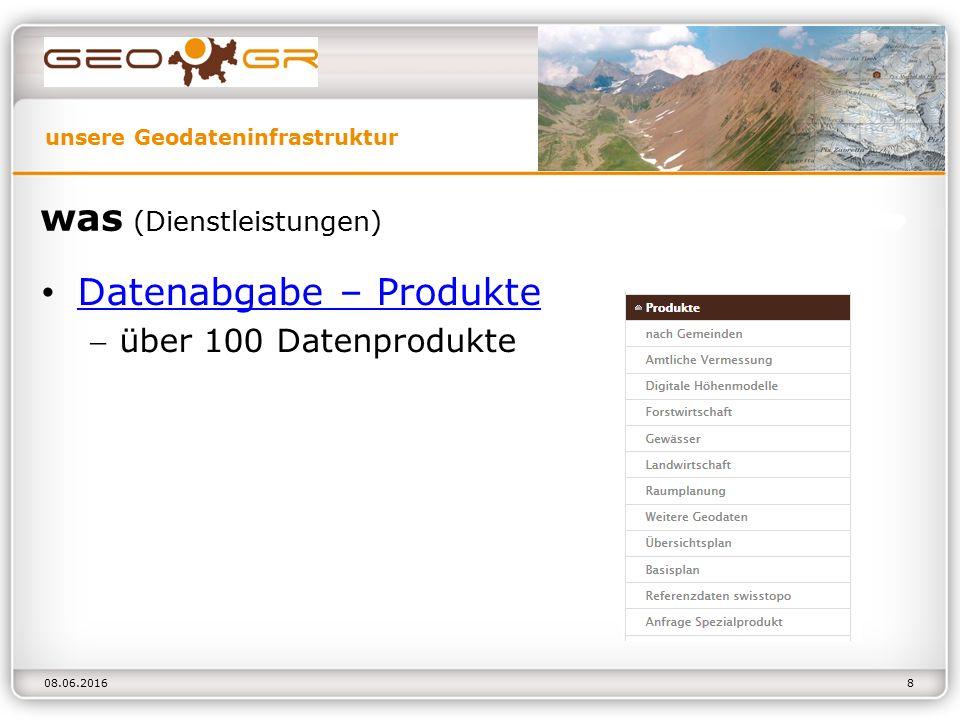 unsere Geodateninfrastruktur 08.06.2016 was (Dienstleistungen) Datenabgabe – Produkte Datenabgabe – Produkte über 100 Datenprodukte 8