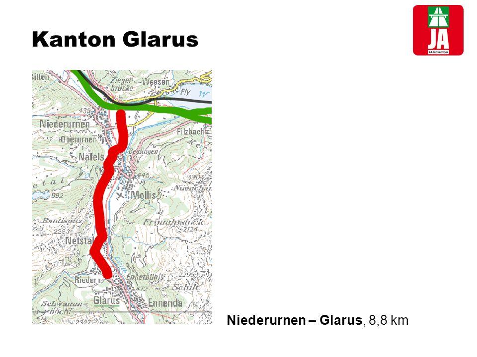 Kanton Glarus Niederurnen – Glarus, 8,8 km