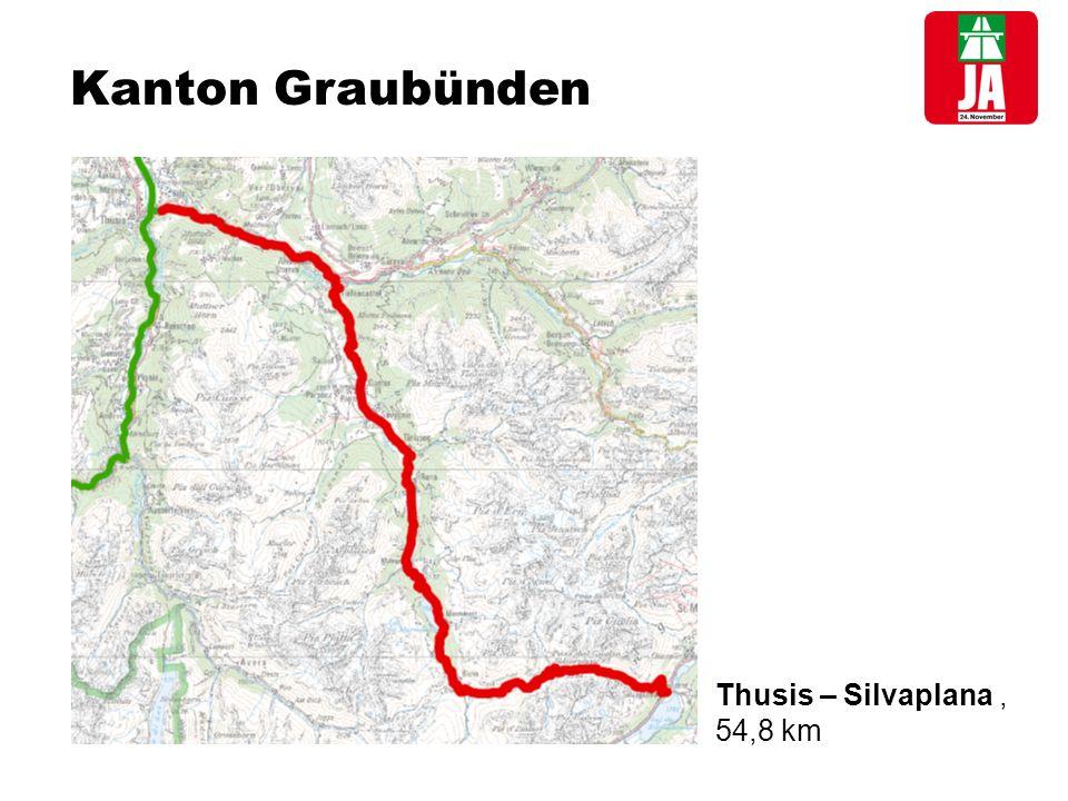 Kanton Graubünden Thusis – Silvaplana, 54,8 km