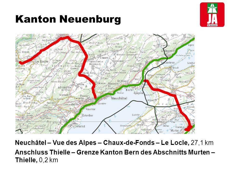 Kanton Neuenburg Neuchâtel – Vue des Alpes – Chaux-de-Fonds – Le Locle, 27,1 km Anschluss Thielle – Grenze Kanton Bern des Abschnitts Murten – Thielle, 0,2 km