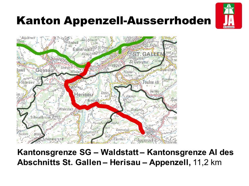 Kanton Appenzell-Ausserrhoden Kantonsgrenze SG – Waldstatt – Kantonsgrenze AI des Abschnitts St.