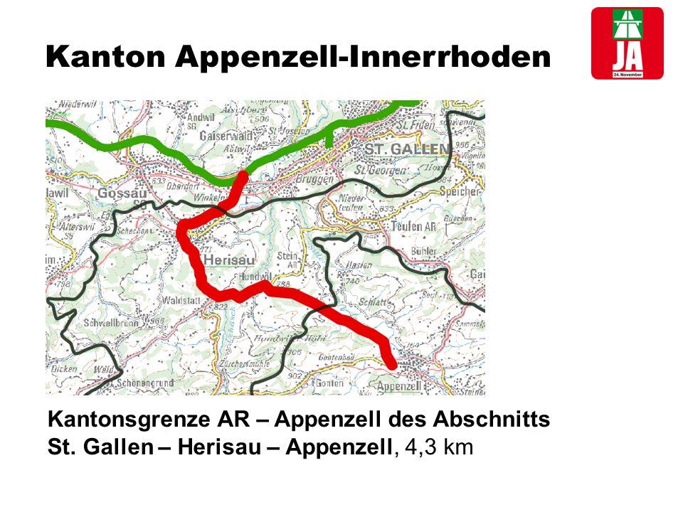 Kanton Appenzell-Innerrhoden Kantonsgrenze AR – Appenzell des Abschnitts St.