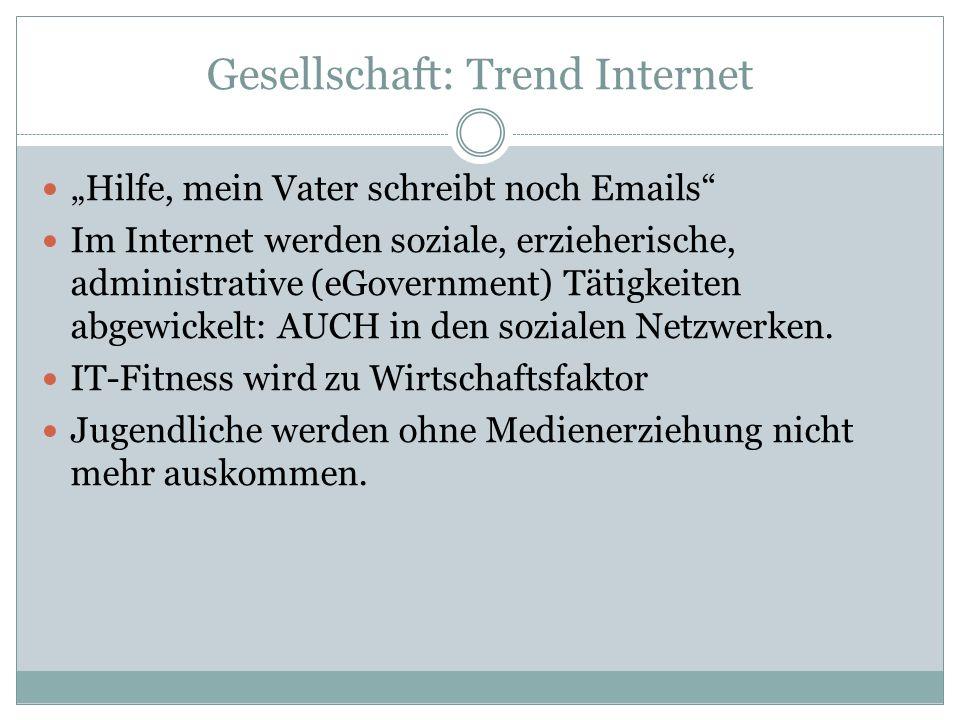 """Gesellschaft: Trend Internet """"Hilfe, mein Vater schreibt noch Emails Im Internet werden soziale, erzieherische, administrative (eGovernment) Tätigkeiten abgewickelt: AUCH in den sozialen Netzwerken."""
