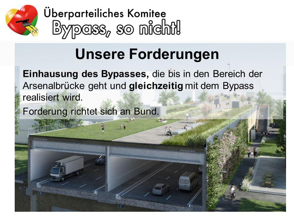 Einhausung des Bypasses, die bis in den Bereich der Arsenalbrücke geht und gleichzeitig mit dem Bypass realisiert wird.
