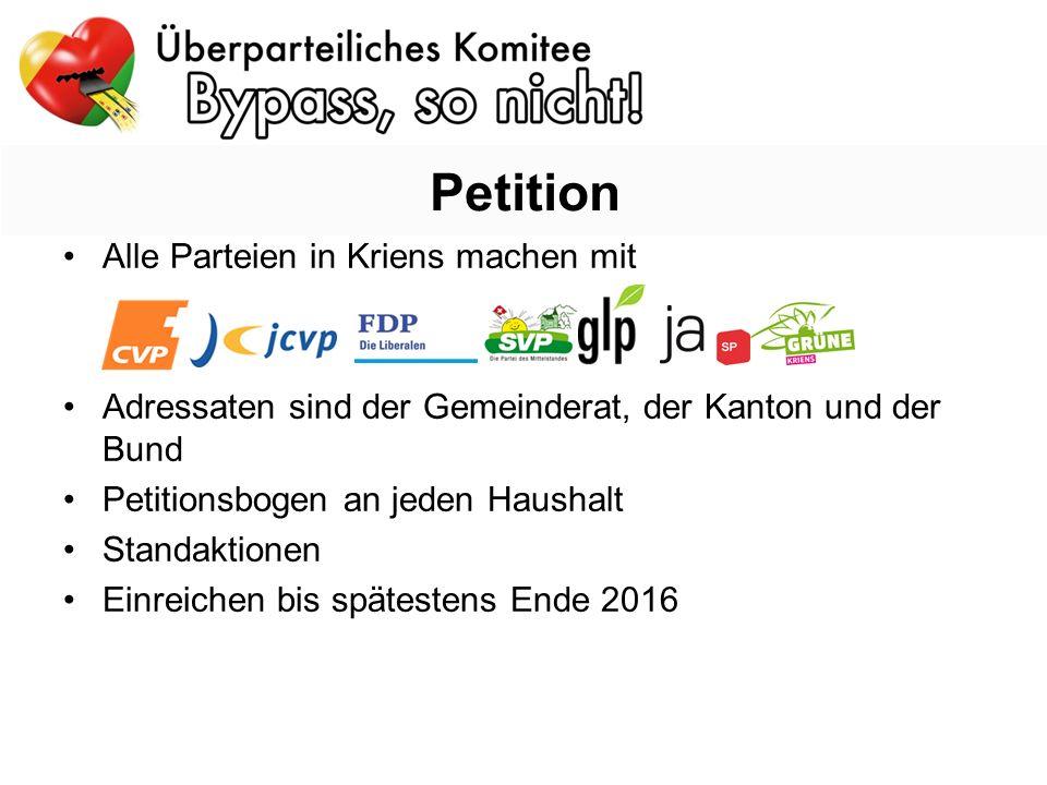 Alle Parteien in Kriens machen mit Adressaten sind der Gemeinderat, der Kanton und der Bund Petitionsbogen an jeden Haushalt Standaktionen Einreichen bis spätestens Ende 2016 Petition