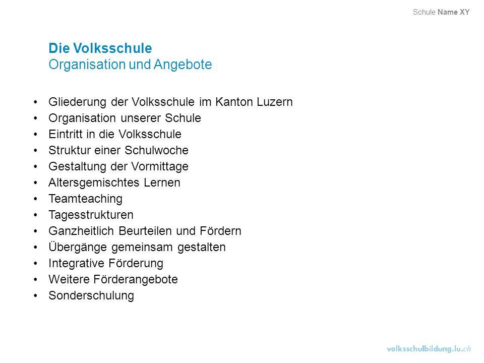 Die Volksschule Organisation und Angebote Gliederung der Volksschule im Kanton Luzern Organisation unserer Schule Eintritt in die Volksschule Struktur