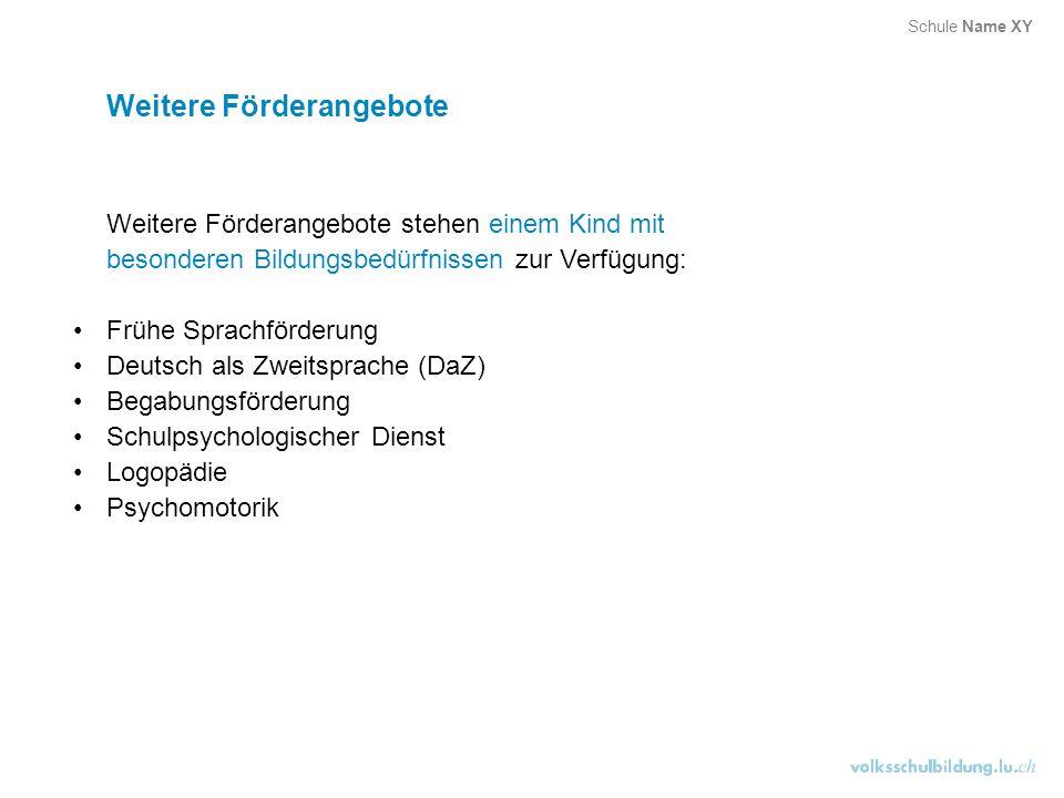 Weitere Förderangebote Weitere Förderangebote stehen einem Kind mit besonderen Bildungsbedürfnissen zur Verfügung: Frühe Sprachförderung Deutsch als Z
