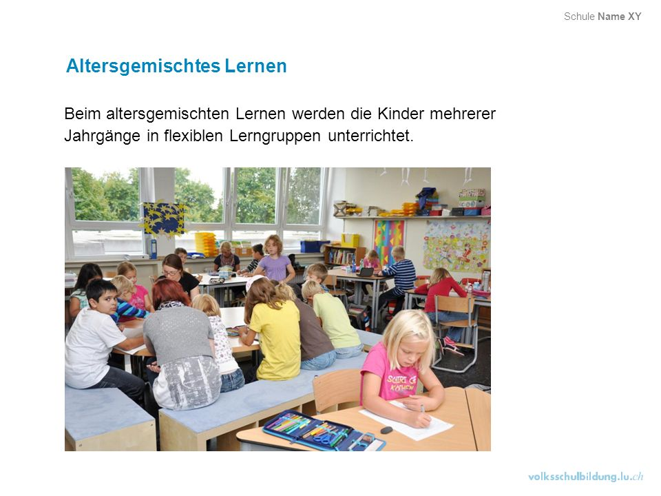 Teamteaching Lehrpersonen arbeiten mit einzelnen Lernenden Lehrpersonen unterrichten in zwei Räumen Lernende sind nach be- stimmten Kriterien aufgeteilt Lehrpersonen unterrichten in Lernstandsgruppen Lehrpersonen arbeiten mit der ganzen Klasse Lehrpersonen unterstützen und begleiten Lerngruppen Schule Name XY