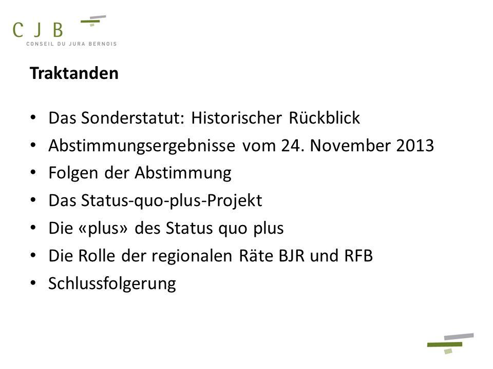 Das Sonderstatut: Historischer Rückblick Abstimmungsergebnisse vom 24. November 2013 Folgen der Abstimmung Das Status-quo-plus-Projekt Die «plus» des
