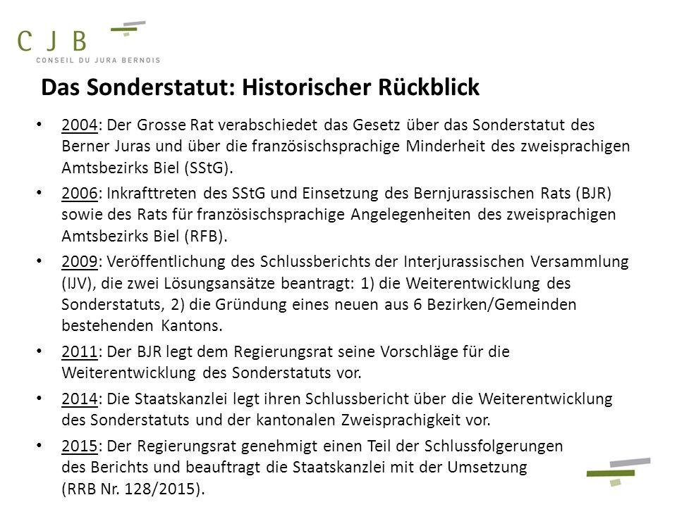 2004: Der Grosse Rat verabschiedet das Gesetz über das Sonderstatut des Berner Juras und über die französischsprachige Minderheit des zweisprachigen Amtsbezirks Biel (SStG).