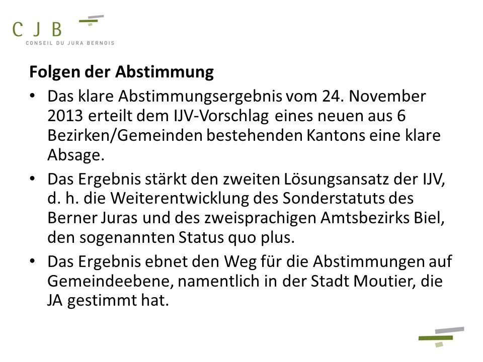 Folgen der Abstimmung Das klare Abstimmungsergebnis vom 24. November 2013 erteilt dem IJV-Vorschlag eines neuen aus 6 Bezirken/Gemeinden bestehenden K