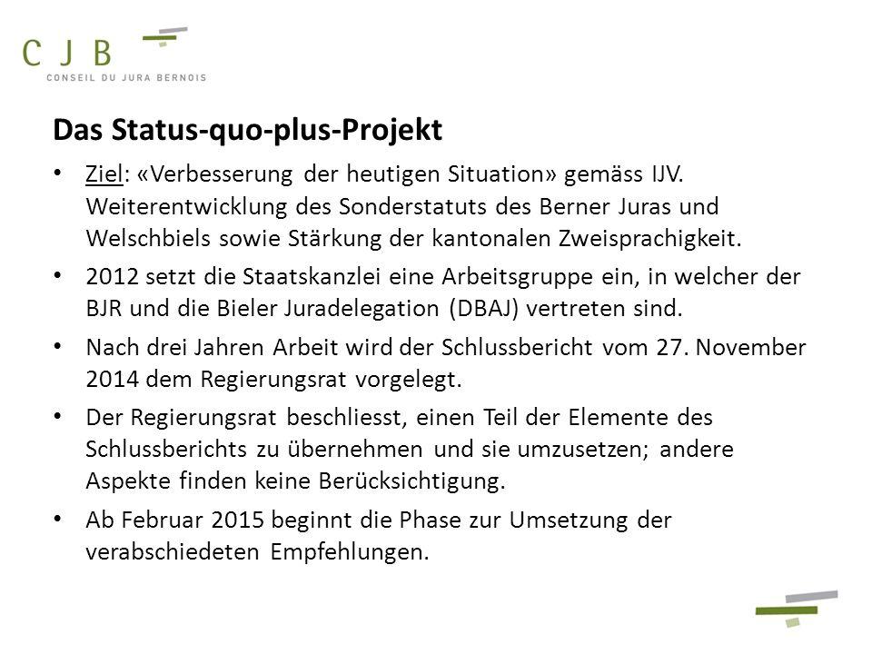 Das Status-quo-plus-Projekt Ziel: «Verbesserung der heutigen Situation» gemäss IJV. Weiterentwicklung des Sonderstatuts des Berner Juras und Welschbie