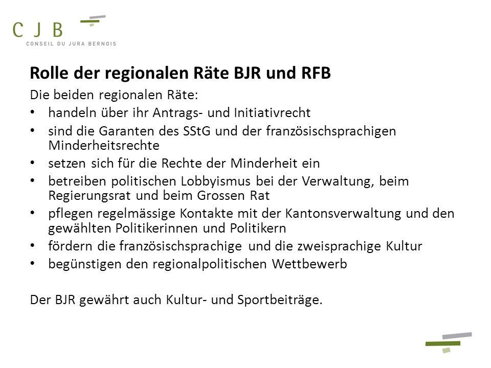 Rolle der regionalen Räte BJR und RFB Die beiden regionalen Räte: handeln über ihr Antrags- und Initiativrecht sind die Garanten des SStG und der fran