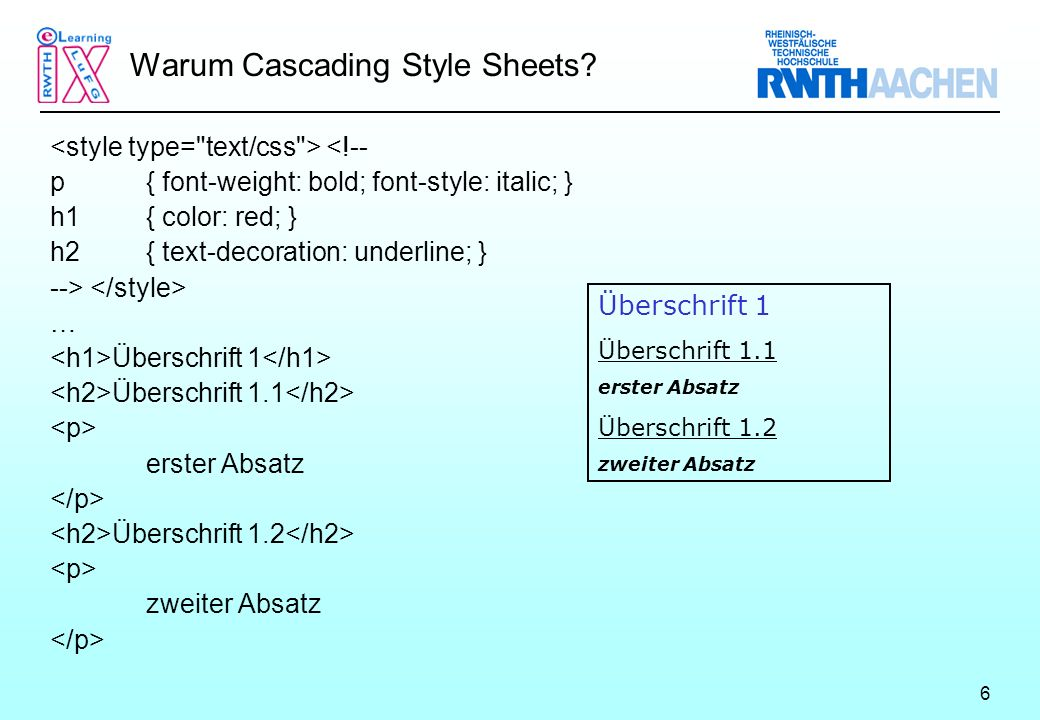 6 Warum Cascading Style Sheets.