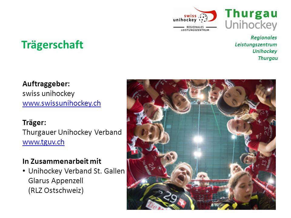 Trägerschaft Auftraggeber: swiss unihockey www.swissunihockey.ch www.swissunihockey.ch Träger: Thurgauer Unihockey Verband www.tguv.ch www.tguv.ch In Zusammenarbeit mit Unihockey Verband St.