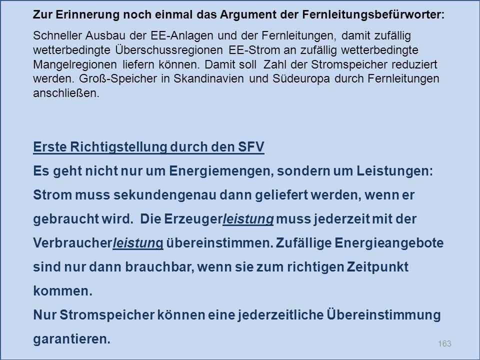 163 Erste Richtigstellung durch den SFV Es geht nicht nur um Energiemengen, sondern um Leistungen: Strom muss sekundengenau dann geliefert werden, wenn er gebraucht wird.